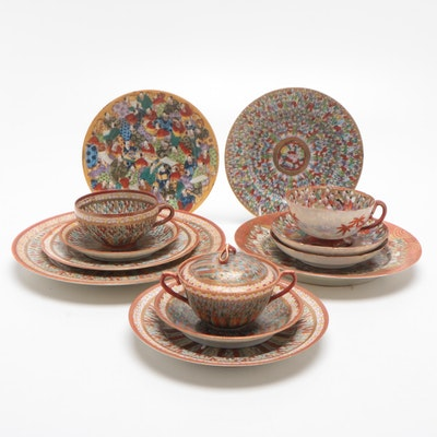 Japanese Kutani Porcelain Plates and Tea Cups, Early-Mid 20th Century