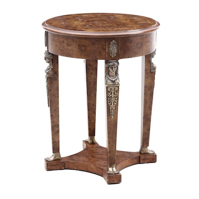 Empire Style Burl Wood End Table, Late 20th Century