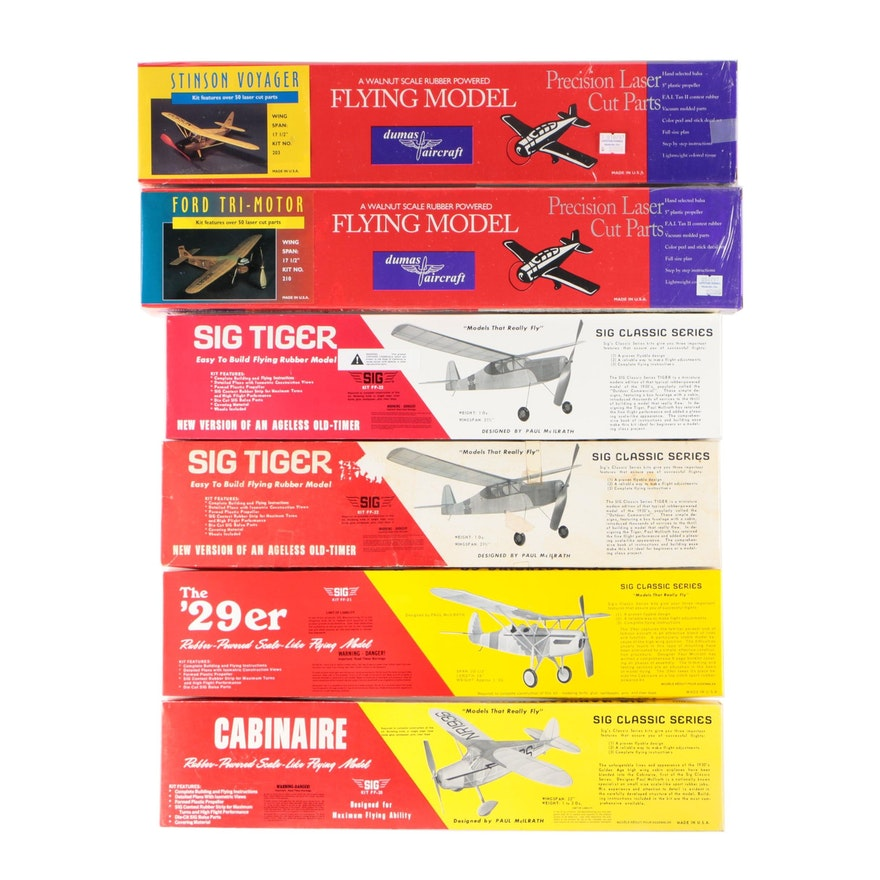 """Dumas Aircraft and Sig Manufacturing Co. Model Airplanes including """"Sig Tiger"""""""