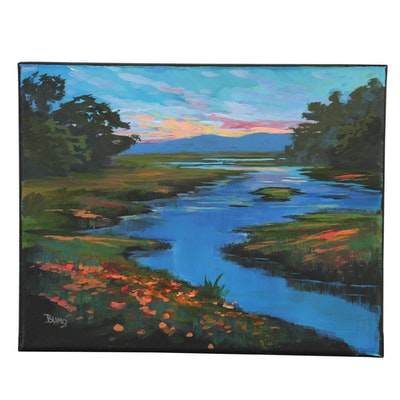 "Douglas ""Bumo"" Johnpeer 2019 Oil Painting ""Fall Lake"""