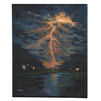 "Douglas ""Bumo"" Johnpeer 2019 Oil Painting ""Wake Up Call"""