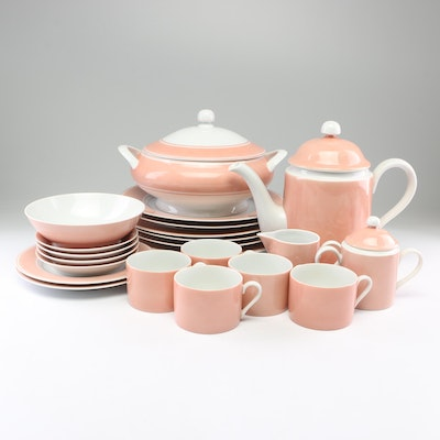 "Fitz and Floyd ""Rondelet Peach"" Porcelain Dinnerware, 1975"