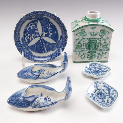 Chinese Hand Painted Porcelain Sauce Bowls, Tea Caddy and Dish