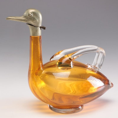 Karl Palda Czechoslovakian Amber Blown Glass Duck Claret Jug