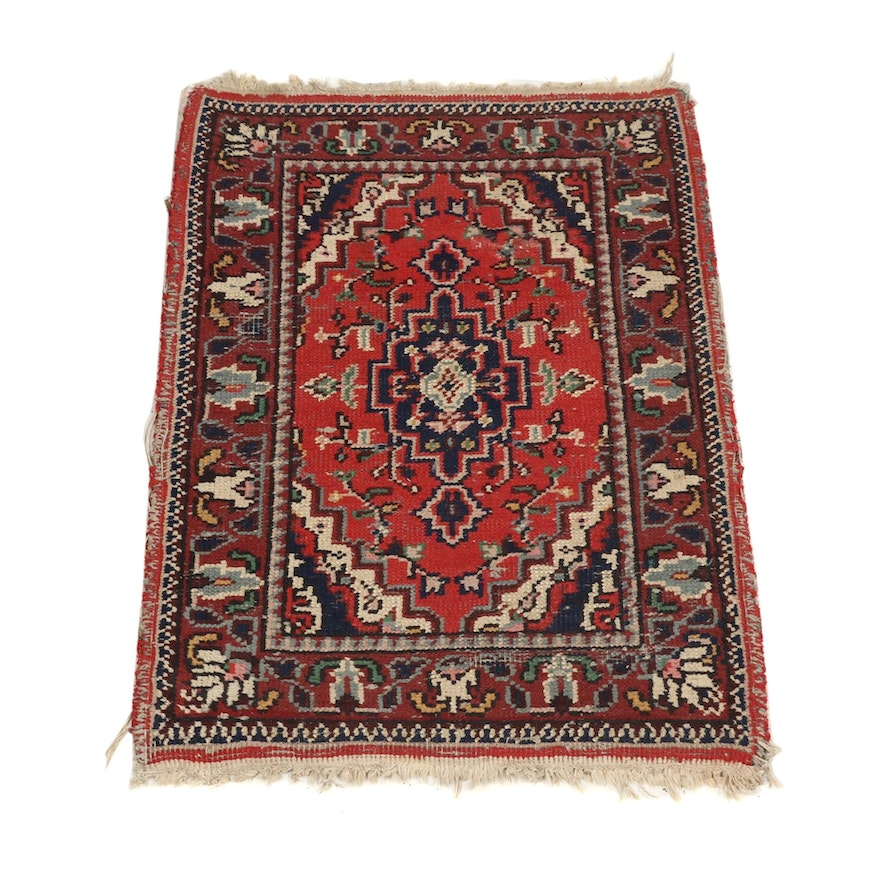 Vintage Hand-Knotted Turkish Isparta Wool Rug