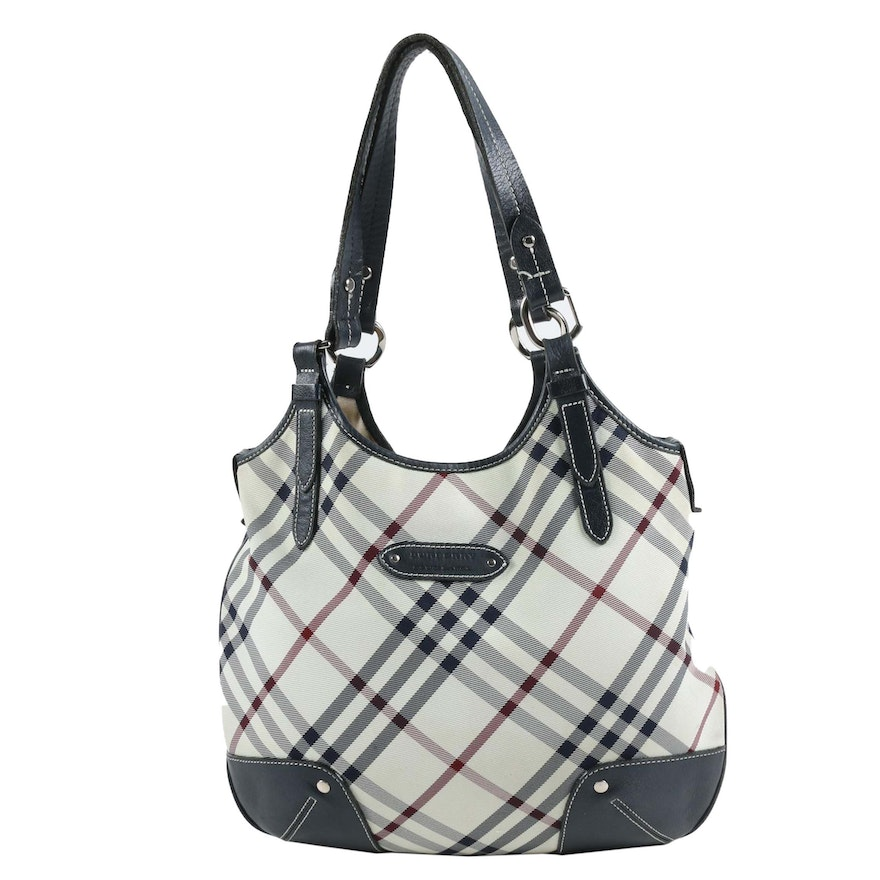 Burberry Blue Label Hobo Bag in White Nylon Plaid Canvas with Leather Trim