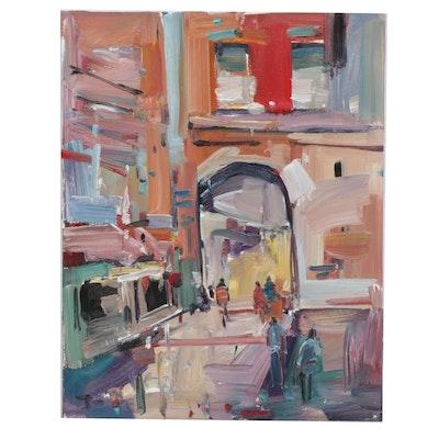 "Jose Trujillo Oil Painting ""Through the Town"""