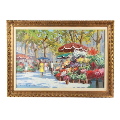 Francisco Carbonell Oil Painting of Market Scene