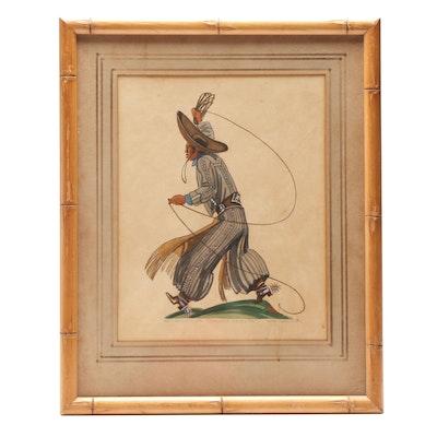 "Ada Peacock Gouache Painting ""Gaucho Salteña"""