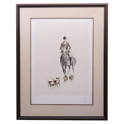 Artist Signed Lithograph Depicting a Hunt