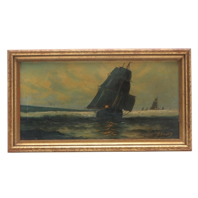Early 20th Century Nautical Oil Painting