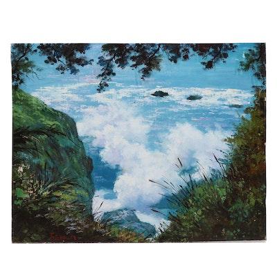 Joseph M. Landscape Oil Painting of Coastal Scene