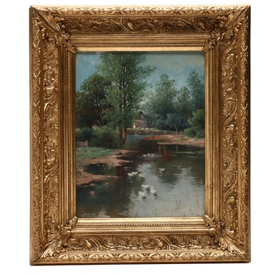 Oil Painting of Pastoral River Scene
