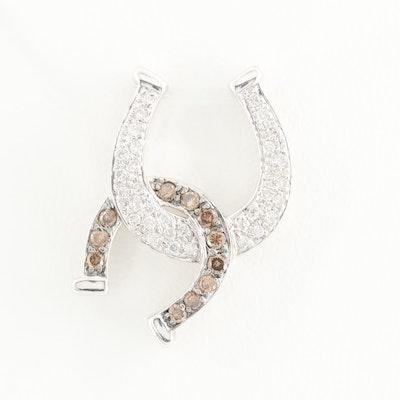 14K White Gold Diamond Double Horse Shoe Pendant