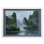 Asian Landscape Oil Painting of River Scene with Rocky Cliffs