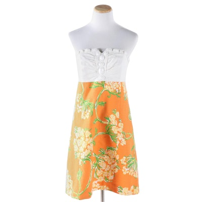Lilly Pulitzer Embellished Cotton Pique Strapless Dress