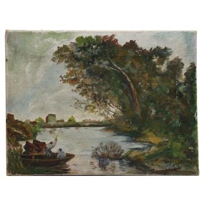 Deva S. Delaney Landscape Oil Painting of River Scene