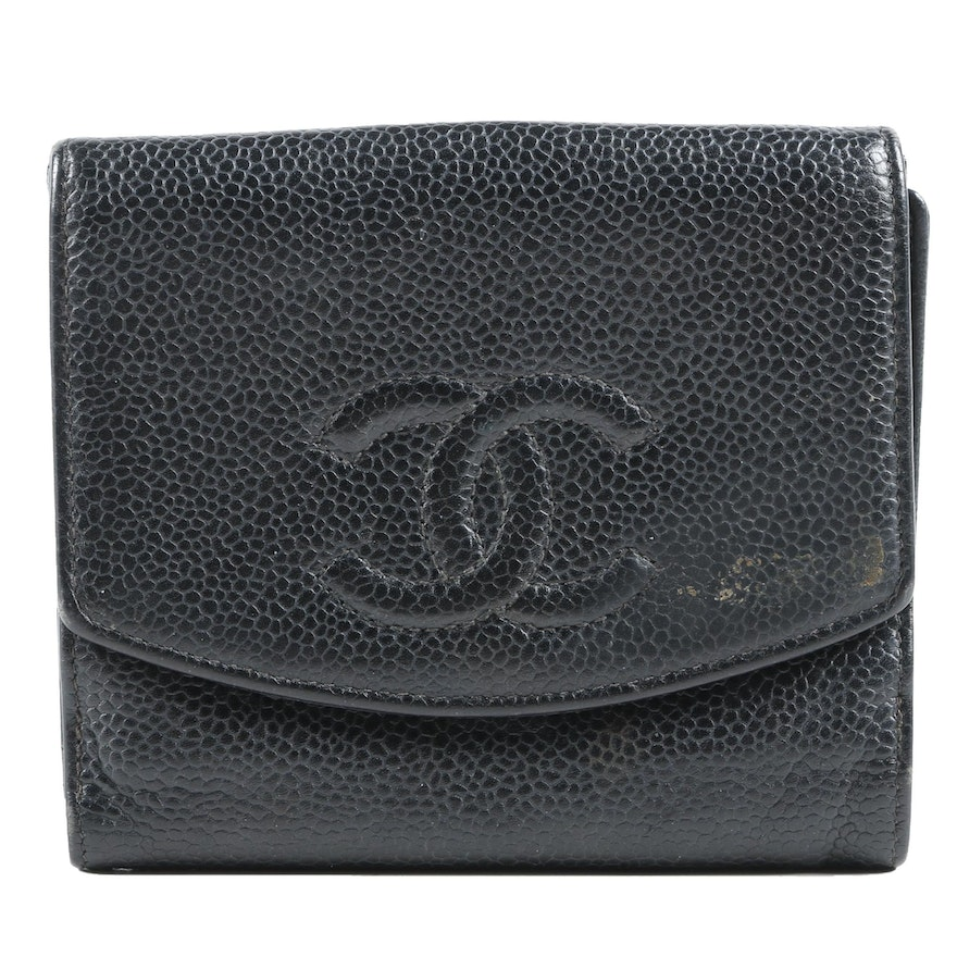 Chanel CC Compact Wallet in Black Caviar Leather
