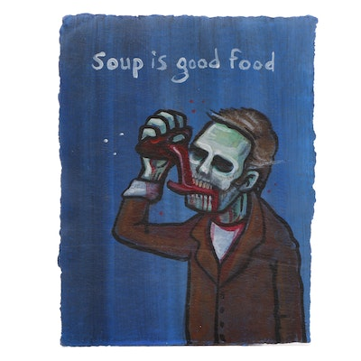 "N. Scott Carroll Outsider Pop Art Acrylic Painting ""Soup is Good Food"""