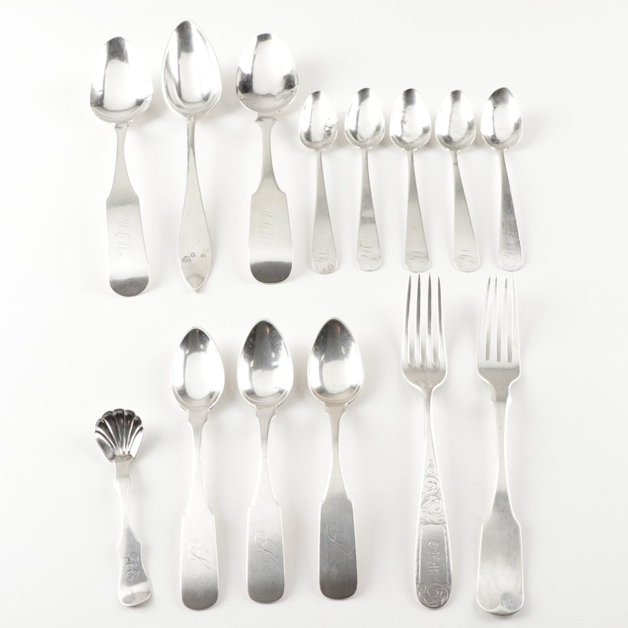 Coin Silver Flatware and Serving Utensils Including Villard and Geo. W. Webb