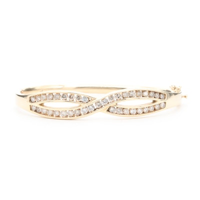 14K Yellow Gold 1.85 CTW Diamond Twist Motif Bangle Bracelet