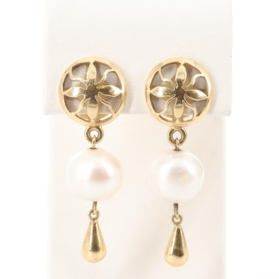 18K Yellow Gold Cultured Pearl Drop Earrings