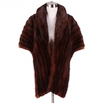 Dyed Marmot Fur Stole with Shawl Collar, Mid-20th Century