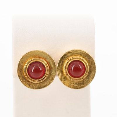 18K Yellow Gold Carnelian Button Earrings