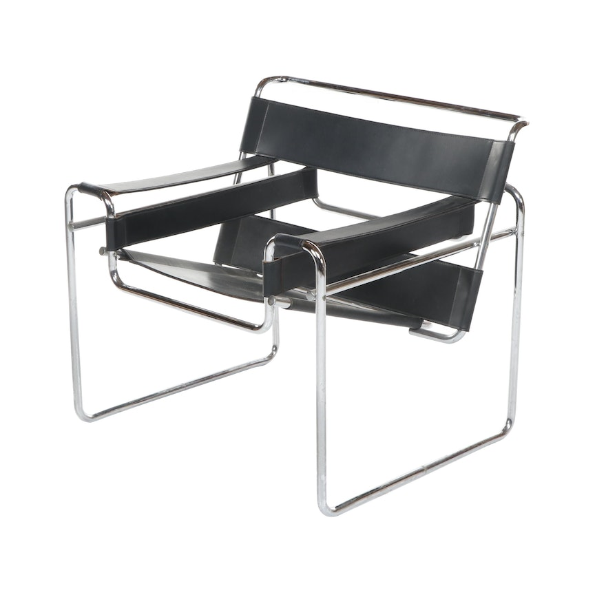 "Bauhaus ""Wassily"" Style Lounge Chair After Marcel Breuer, 20th century"