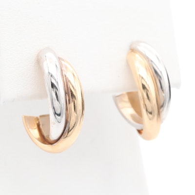 """14K Yellow and White Gold """"J """" Hoop Earrings"""