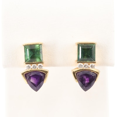 18K Yellow Gold Tourmaline, Amethyst and Diamond Earrings