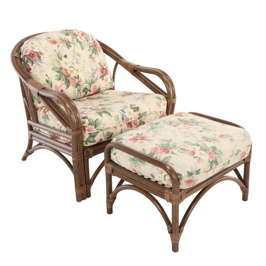 Benchcraft Furniture, Brown Rattan and Floral-Upholstered Armchair and Ottoman