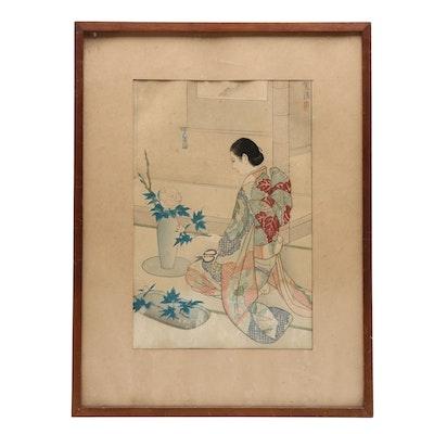 "Kasamatsu Shirō Woodblock Print ""Ikebana (Flower Arranging)"""