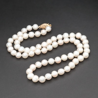Strand of Cultured Pearl with 14K Yellow Gold Clasp