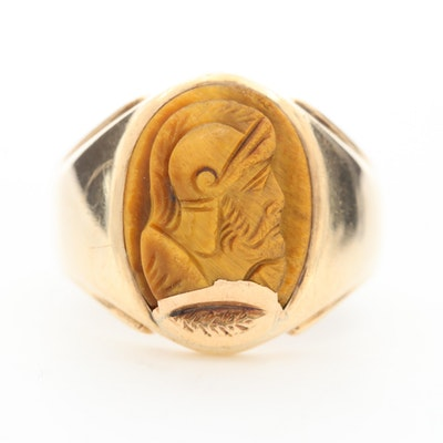 14K Yellow Gold Carved Tiger's Eye Intaglio Cameo Ring