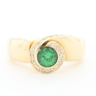 14K Yellow Gold Tsavorite and Diamond Ring