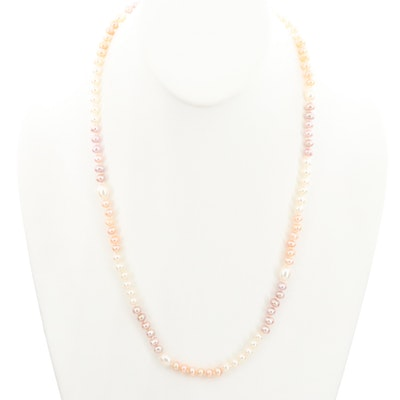 Hand Knotted Cultured Pearls Station Endless Necklace