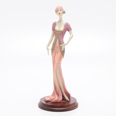 Art Deco Style Composite Figurine on Wooden Base