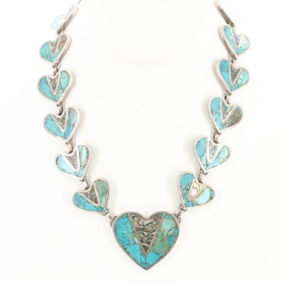Vintage Taxco Mexico Sterling Silver Turquoise and Abalone Heart Necklace