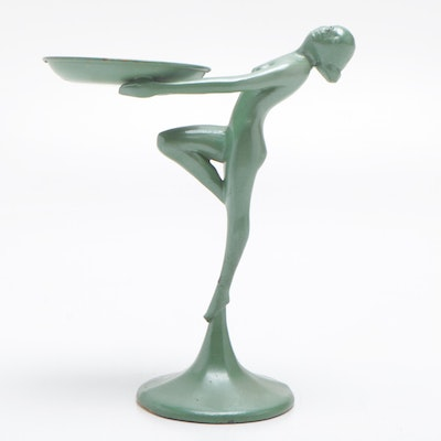 Art Deco Style Painted Metal Figural Tray