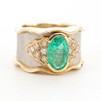 Kenji Kiuchi 18K Yellow Gold and Platinum 1.89 CT Emerald and Diamond Ring