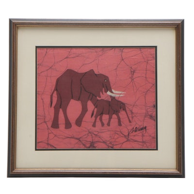 Elephant Batik Cloth Panel