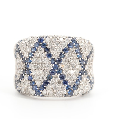 18K White Gold Pavé Diamond and Sapphire Ring