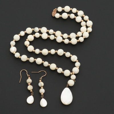 10K Yellow Gold Mother of Pearl Beaded Necklace and Earrings Set