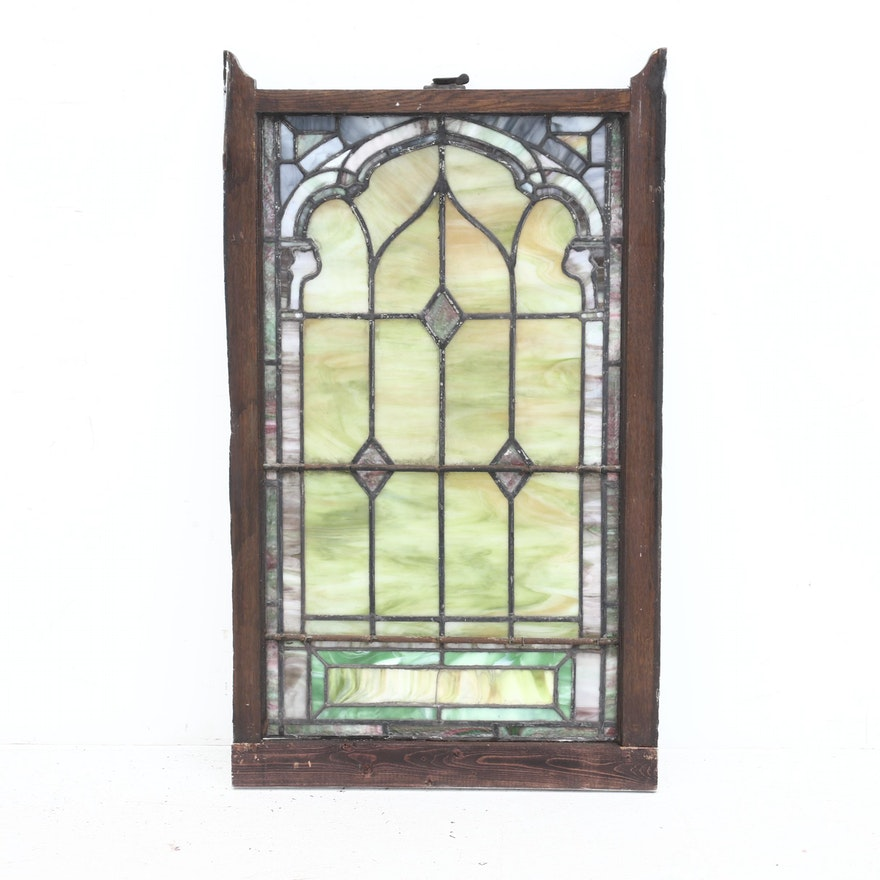 Antique Leaded Slag Glass Window, Early 20th Century