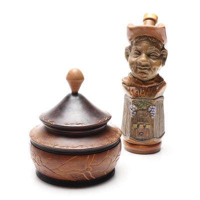 Ceramic Figural Decanter and Carved Wooden Bowl