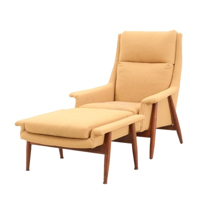 Armchair with Footstool, Mid Century Modern