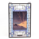 "Meyda Tiffany Stained Glass Wall Hanging After Maxfield Parrish's ""White Birch"""
