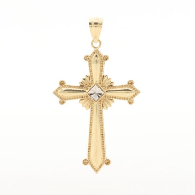 14K Yellow Gold Cross Diamond Cut Pendant