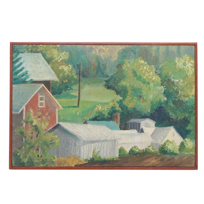 Mid 20th Century Rural Landscape Oil Painting